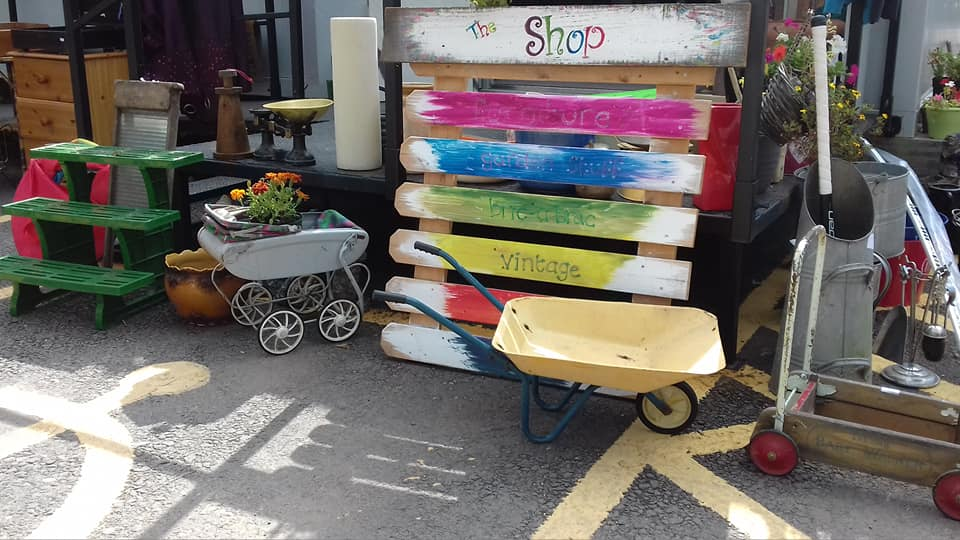 Selection of items outside of the Llanfoist Reuse Shop.