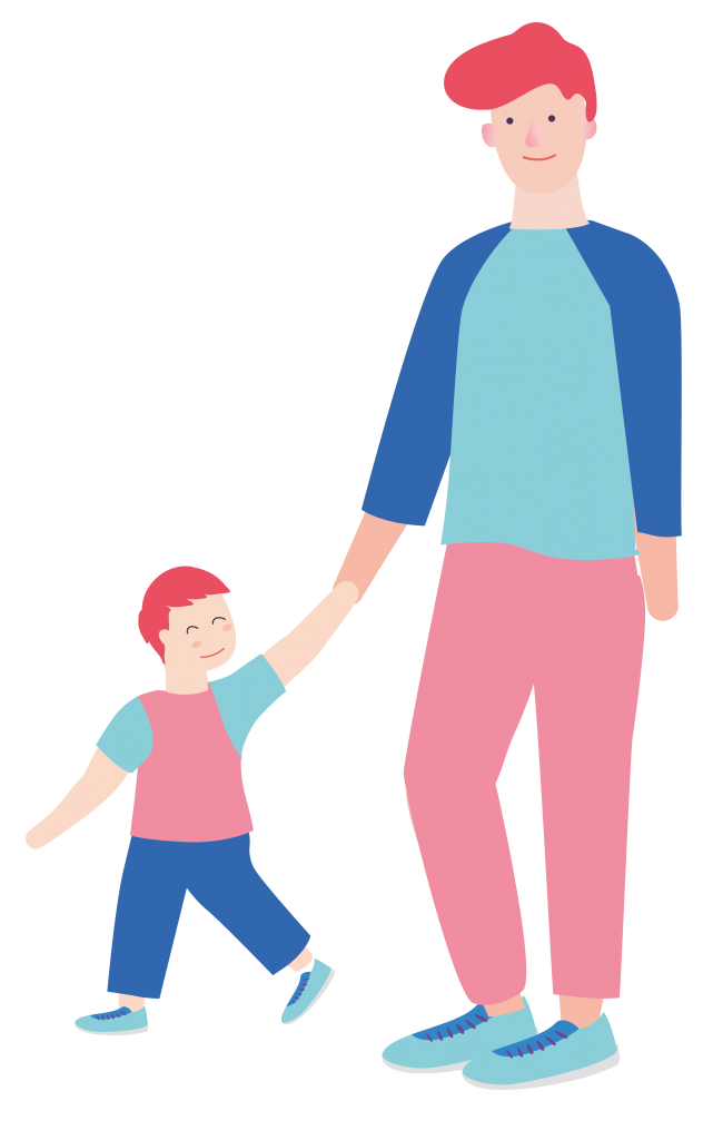 male childminder and boy characters