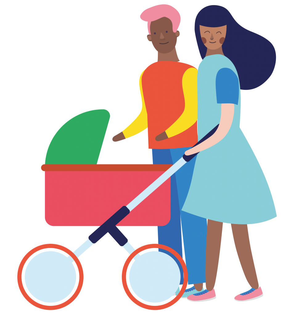 mother and father with pram characters