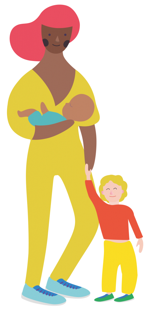 female childminder and child characters