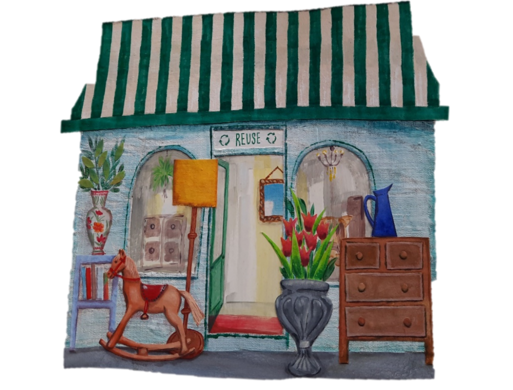 Drawing showing the outside of the Reuse Shop.